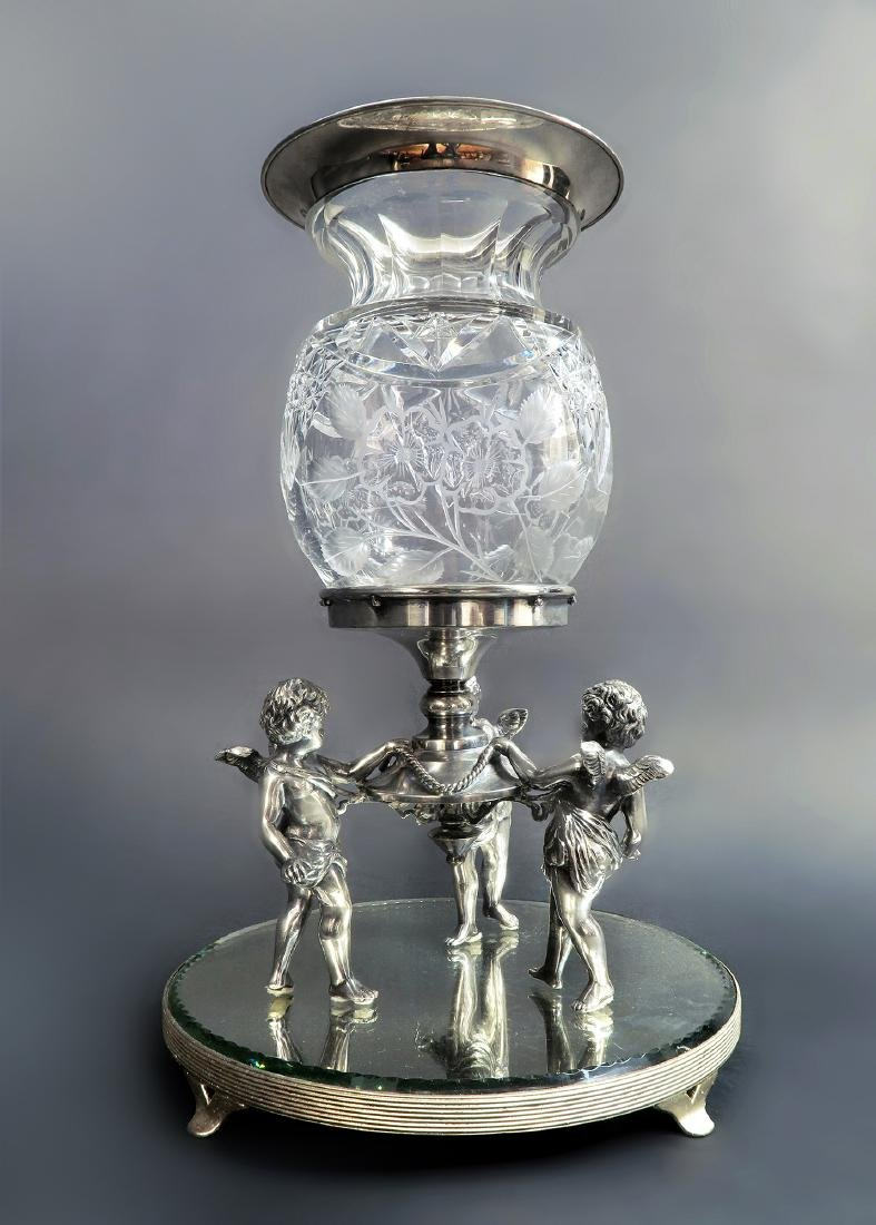 19th C. Figural Silver plated & Crystal Centerpiece