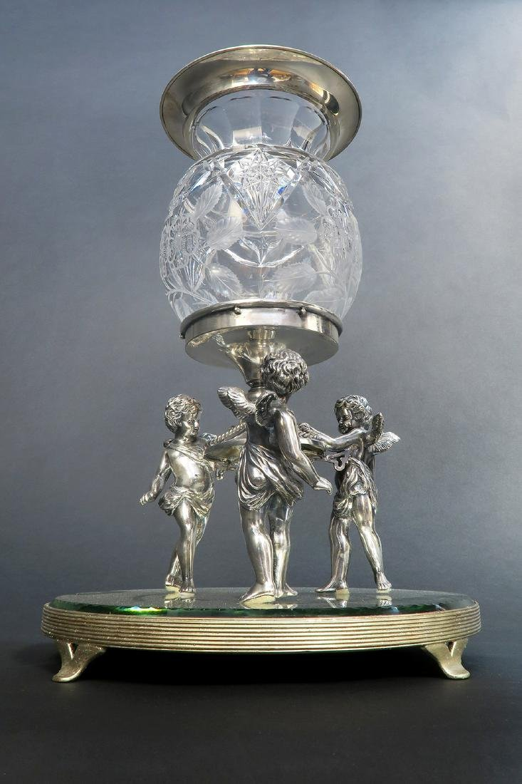 19th C. Figural Silver plated & Crystal Centerpiece - 2