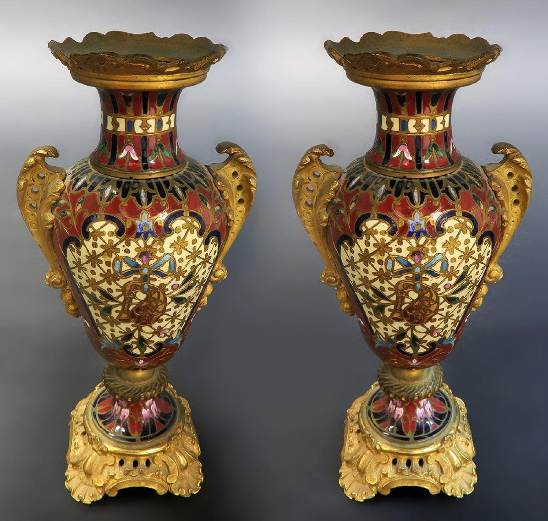 Pair of 19th C. French Champleve Bronze Vases - 3