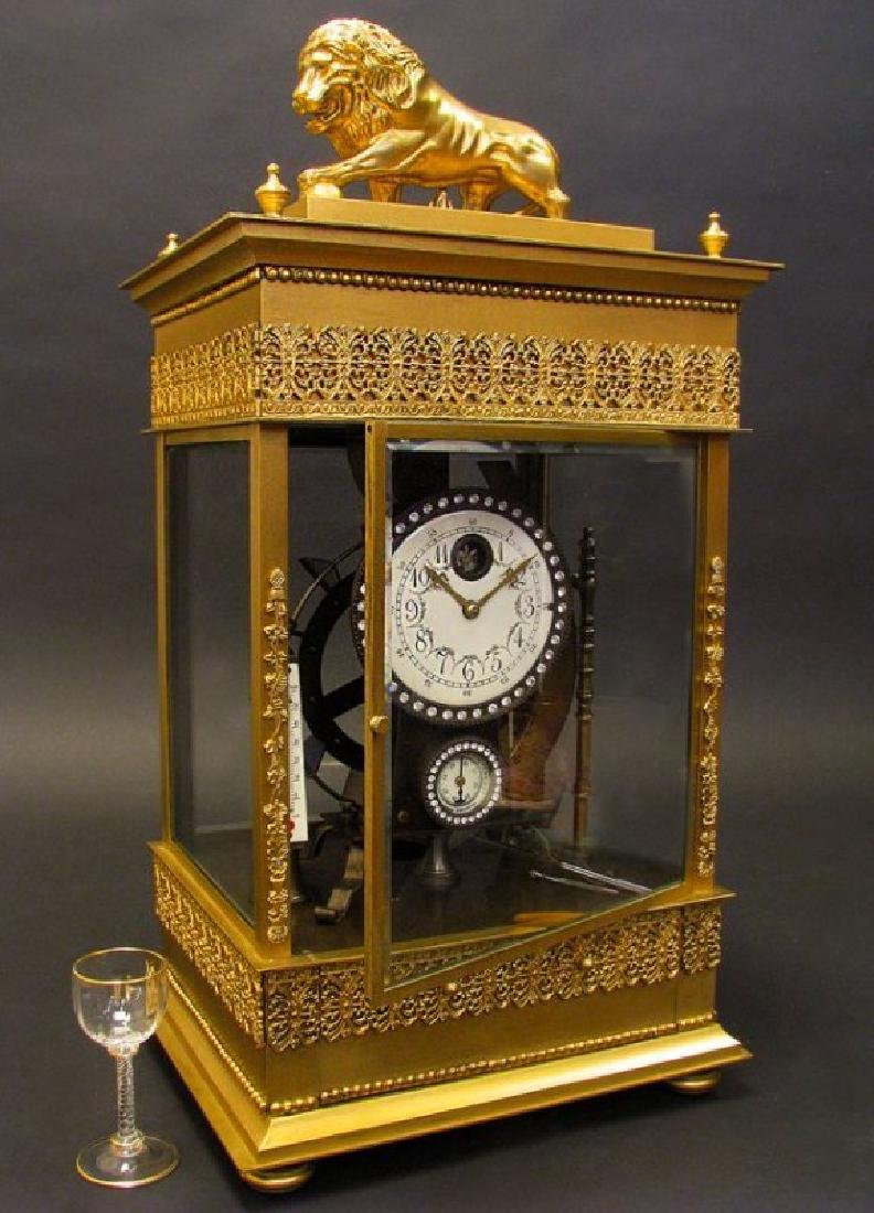 Large French Gilt Bronze Mechanical Falling Ball Clock