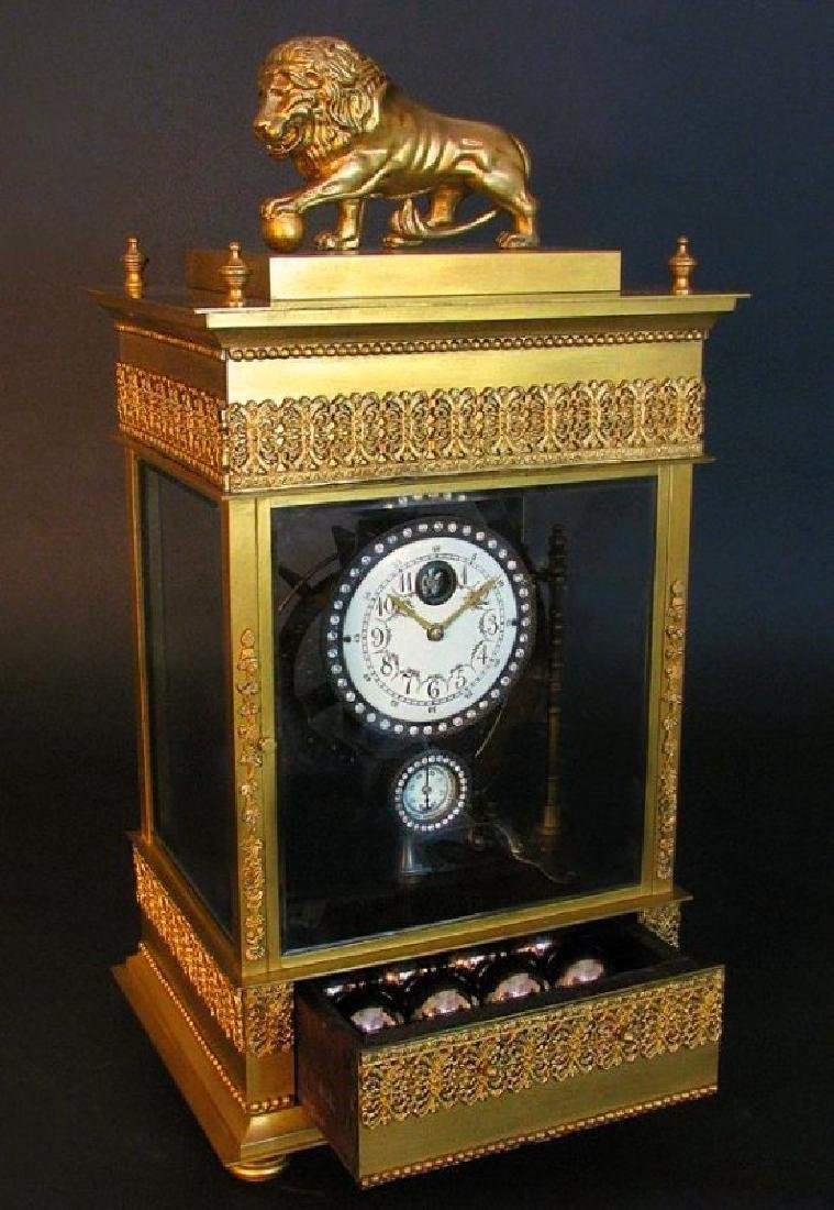 Large French Gilt Bronze Mechanical Falling Ball Clock - 6