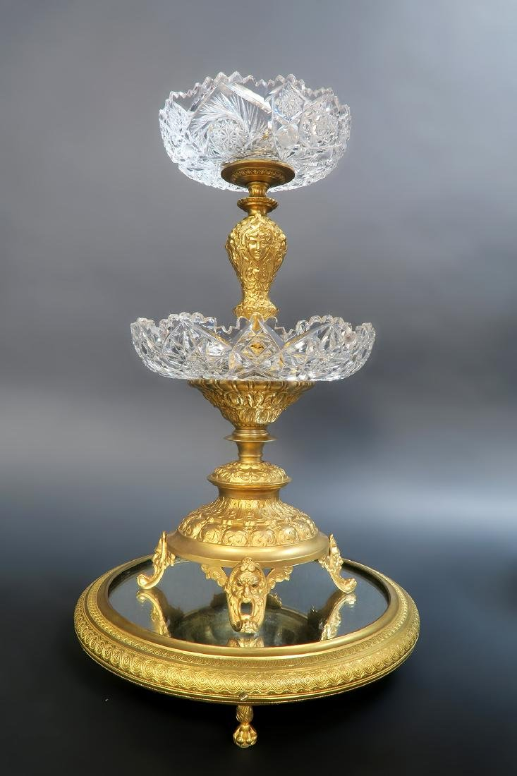 19th C. French Bronze & Crystal Centerpiece/Plateau - 2