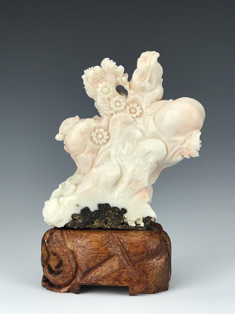 Chinese Coral Carved Figural Buddha Group - 3
