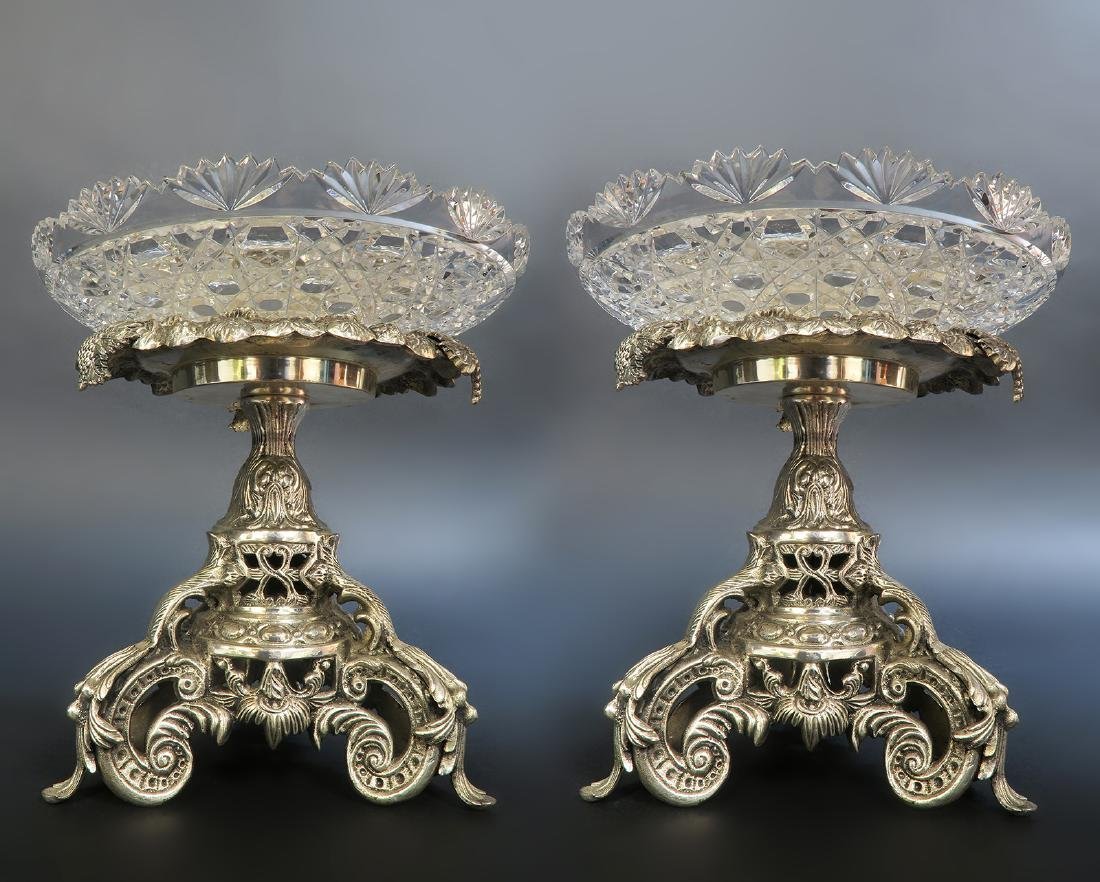 Pair of French Silver-Plated Christofle Style Compotes - 2