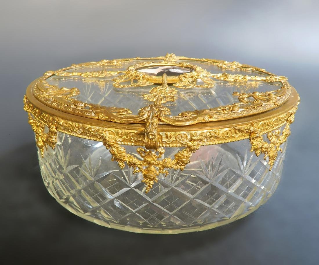 Large French Bronze & Baccarat Crystal Jewelry Box - 4