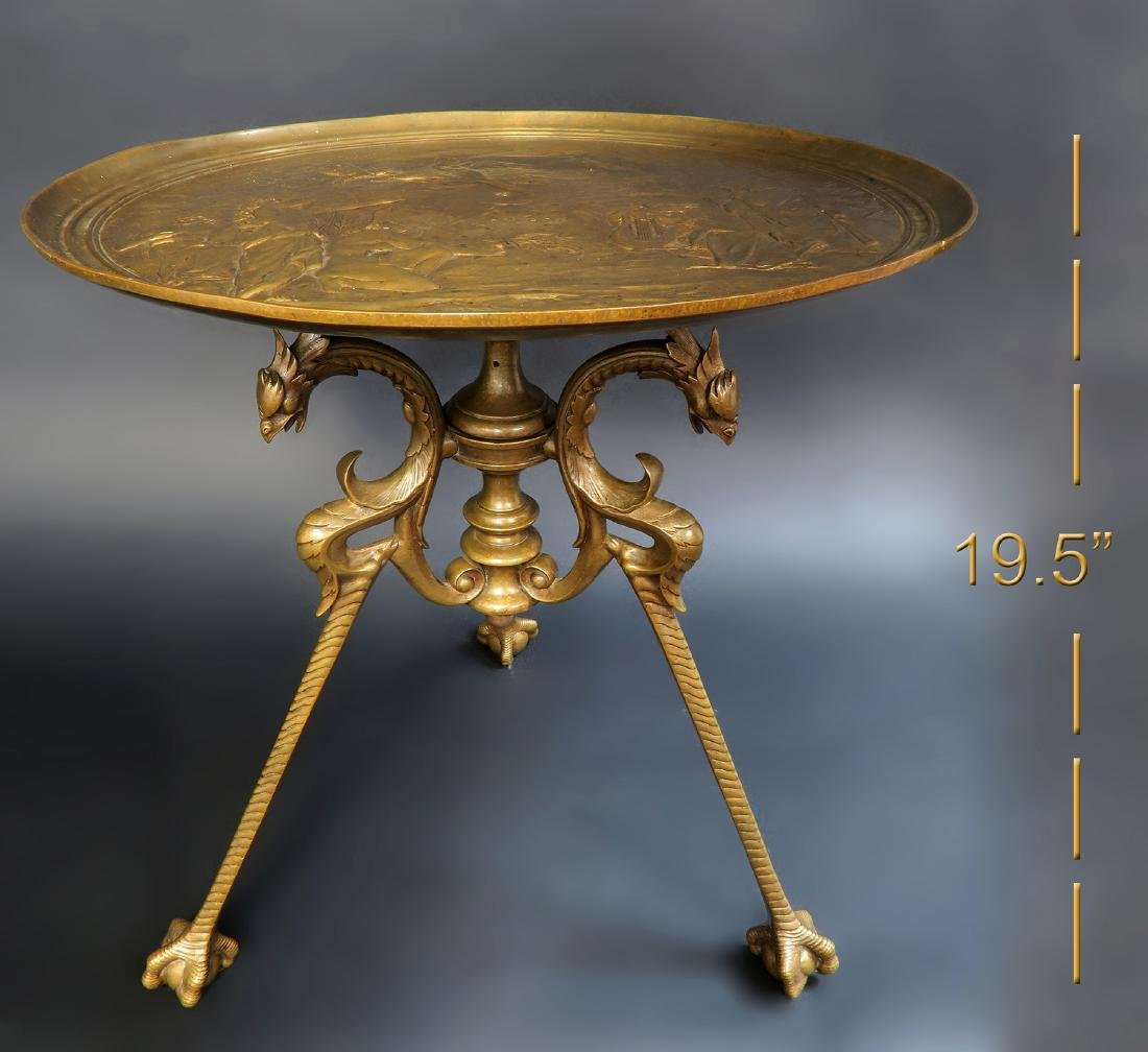 Signed Tiffany Studios Griffin Bronze Side Table