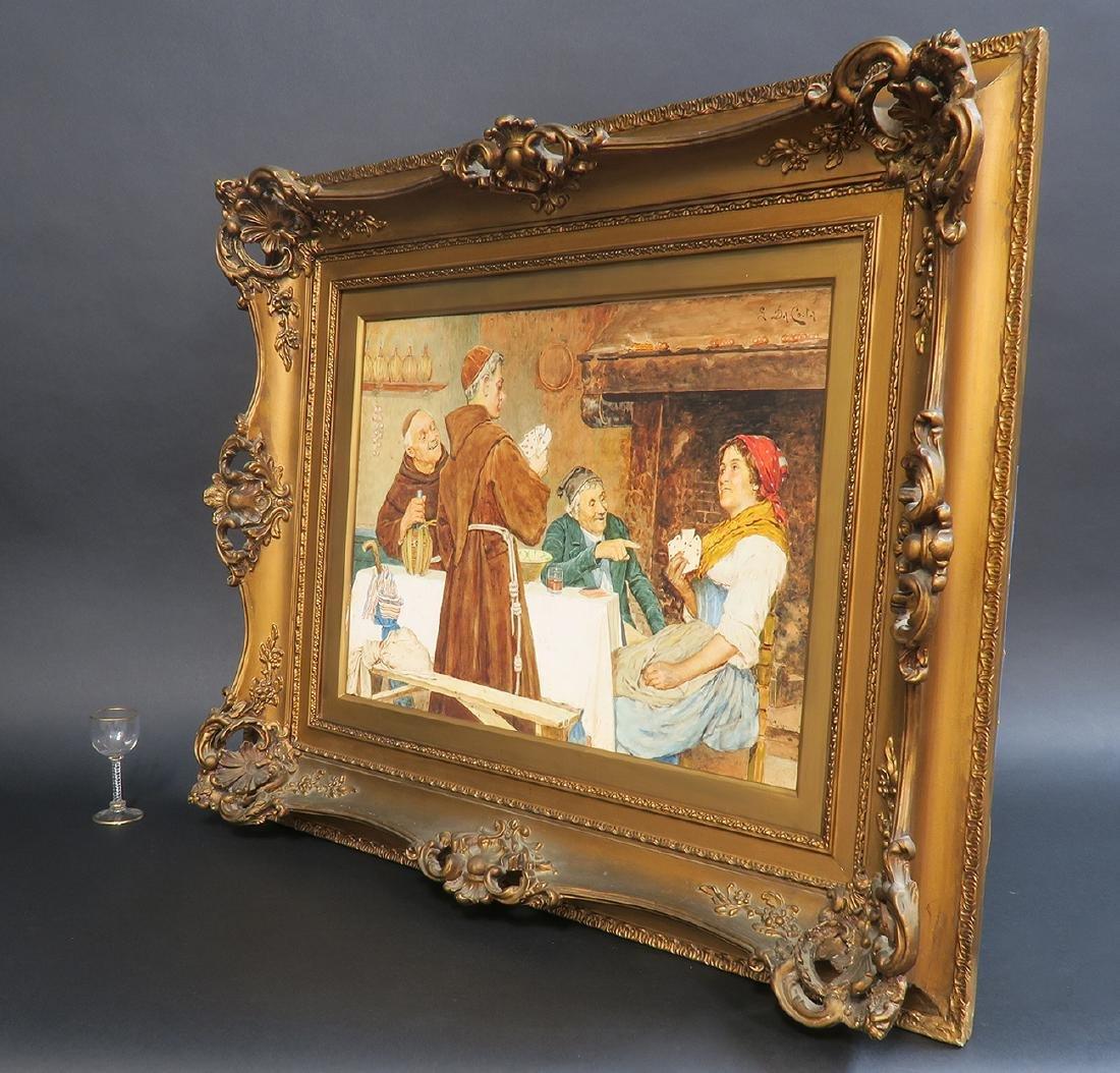 """S. Da Coota"" 19th C. Painting on Board - 3"