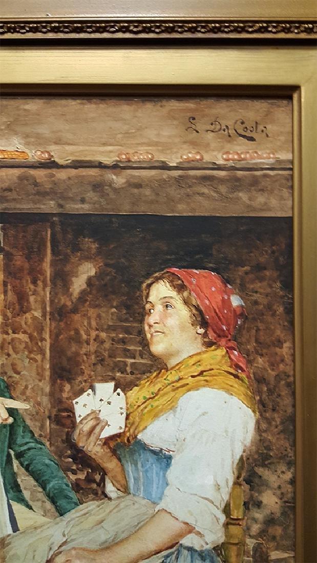 """S. Da Coota"" 19th C. Painting on Board - 5"