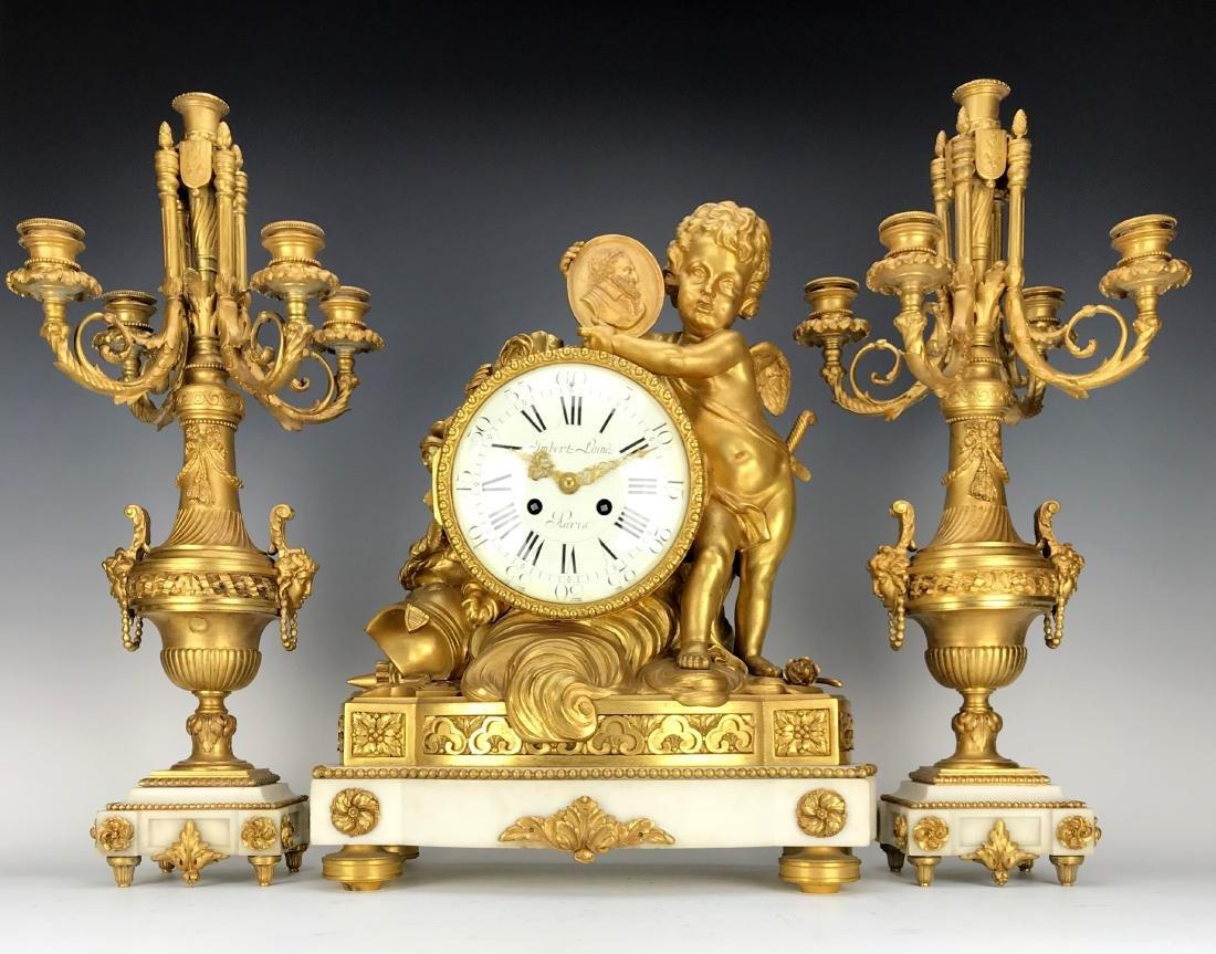 "Magnificent Mantle Clock Set Signed ""Lambert L'aine"""