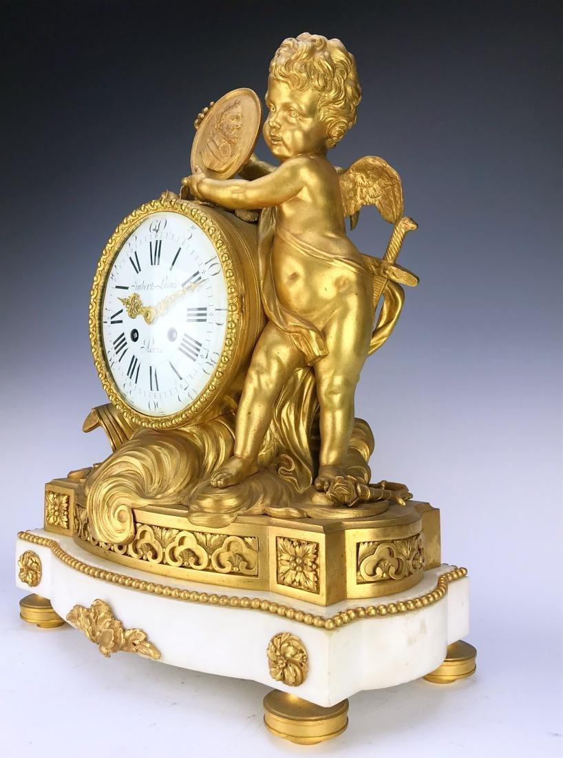 "Magnificent Mantle Clock Set Signed ""Lambert L'aine"" - 2"