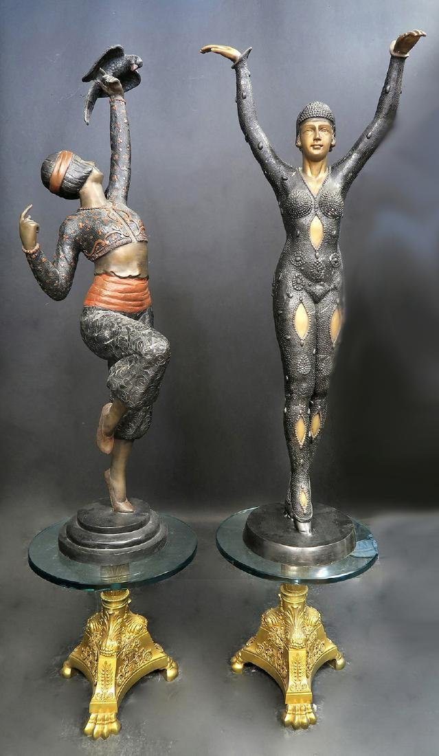 "A PAIR OF LARGE FRENCH ART DECO BRONZE ""WOMAN DANCERS"""