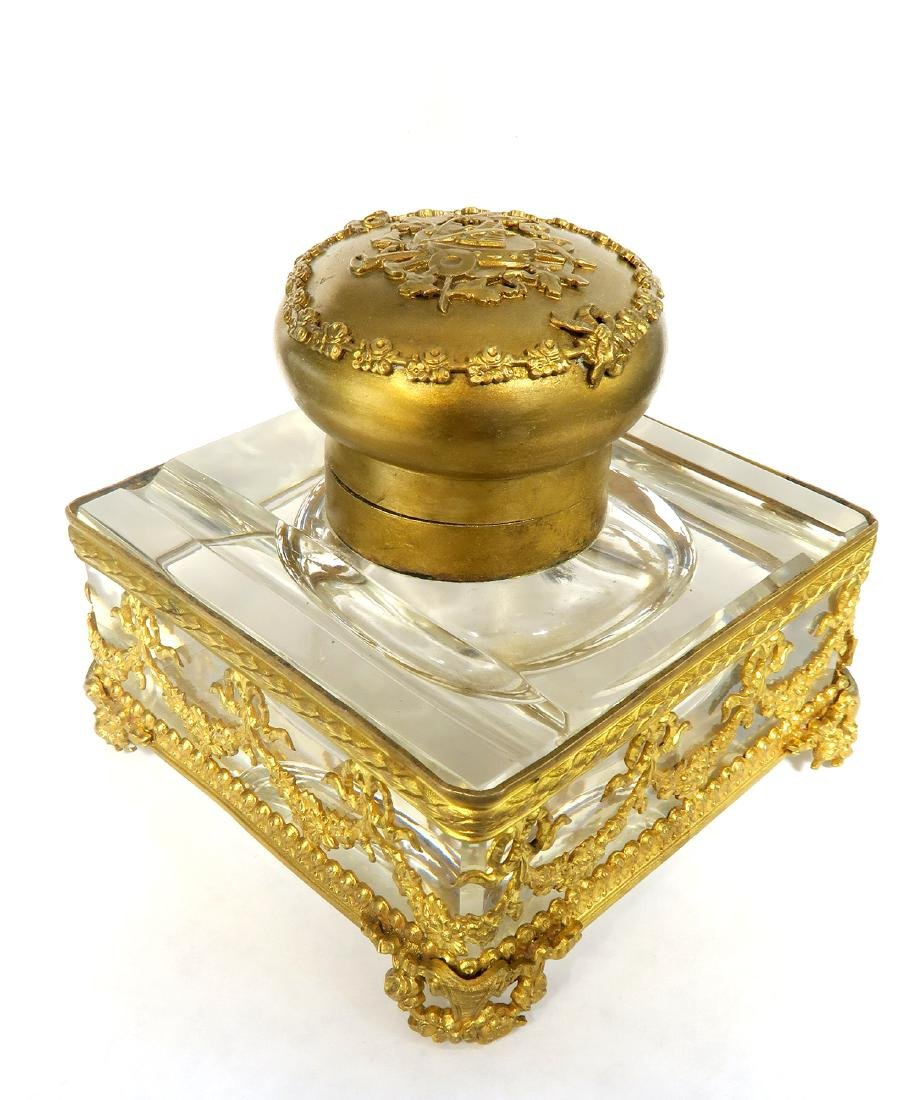 French Bronze & Baccarat Crystal Inkwell, 19th C.