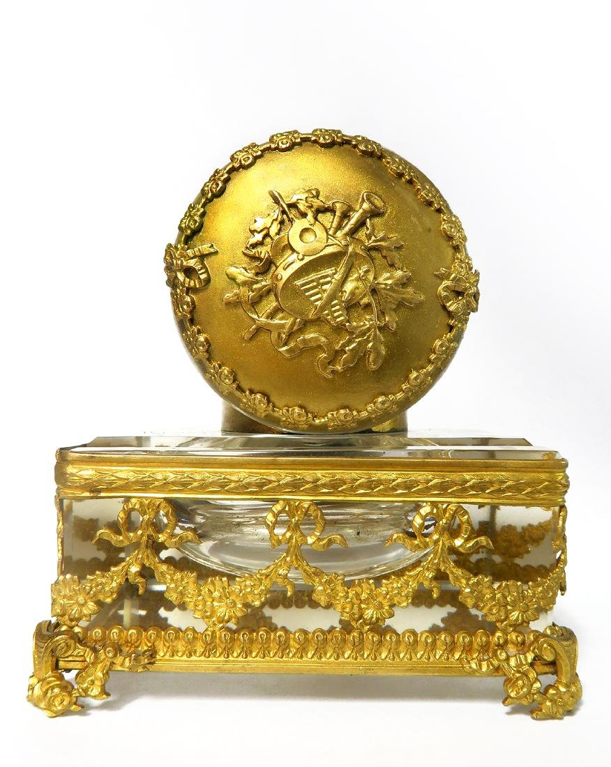French Bronze & Baccarat Crystal Inkwell, 19th C. - 2