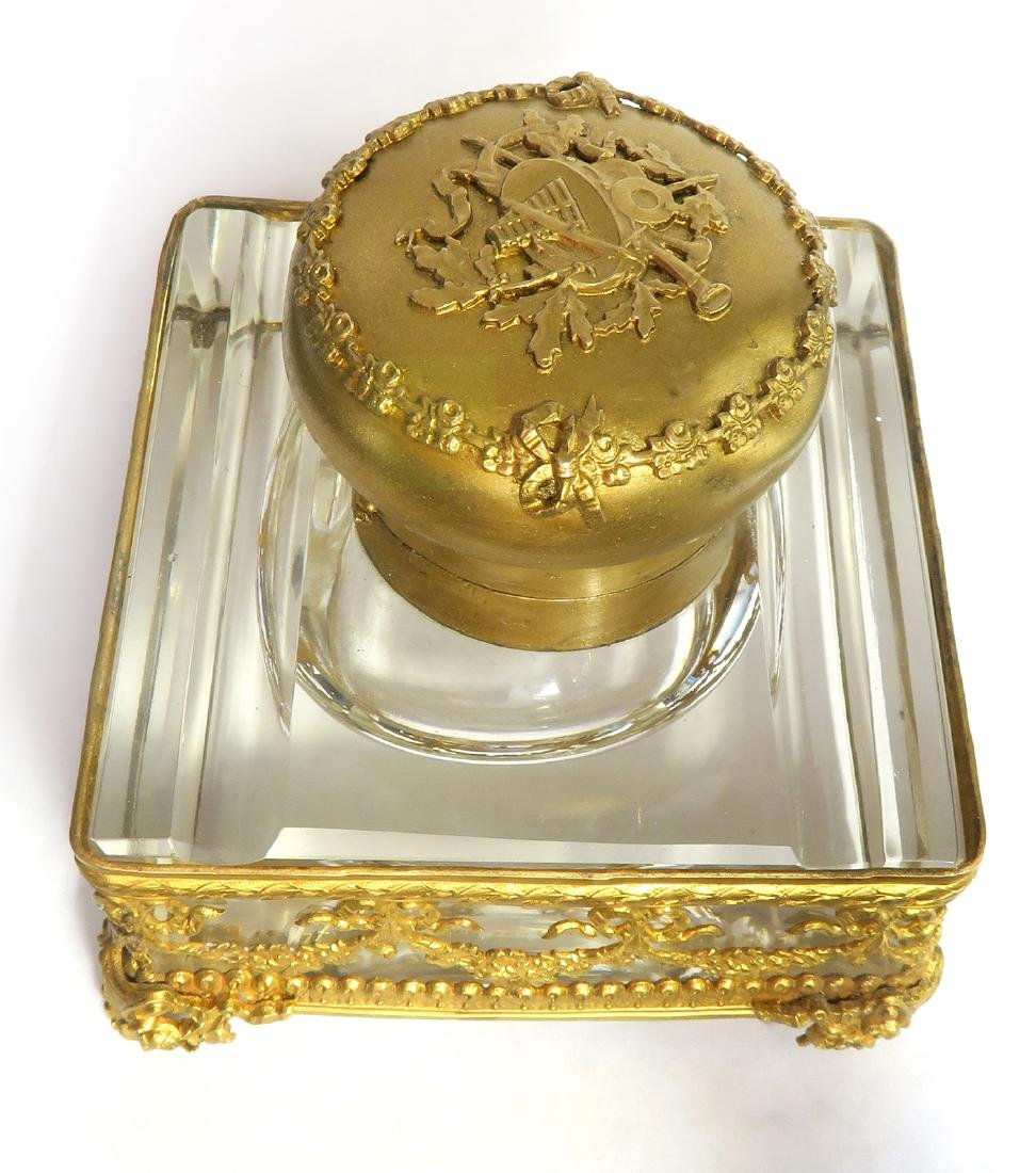 French Bronze & Baccarat Crystal Inkwell, 19th C. - 3