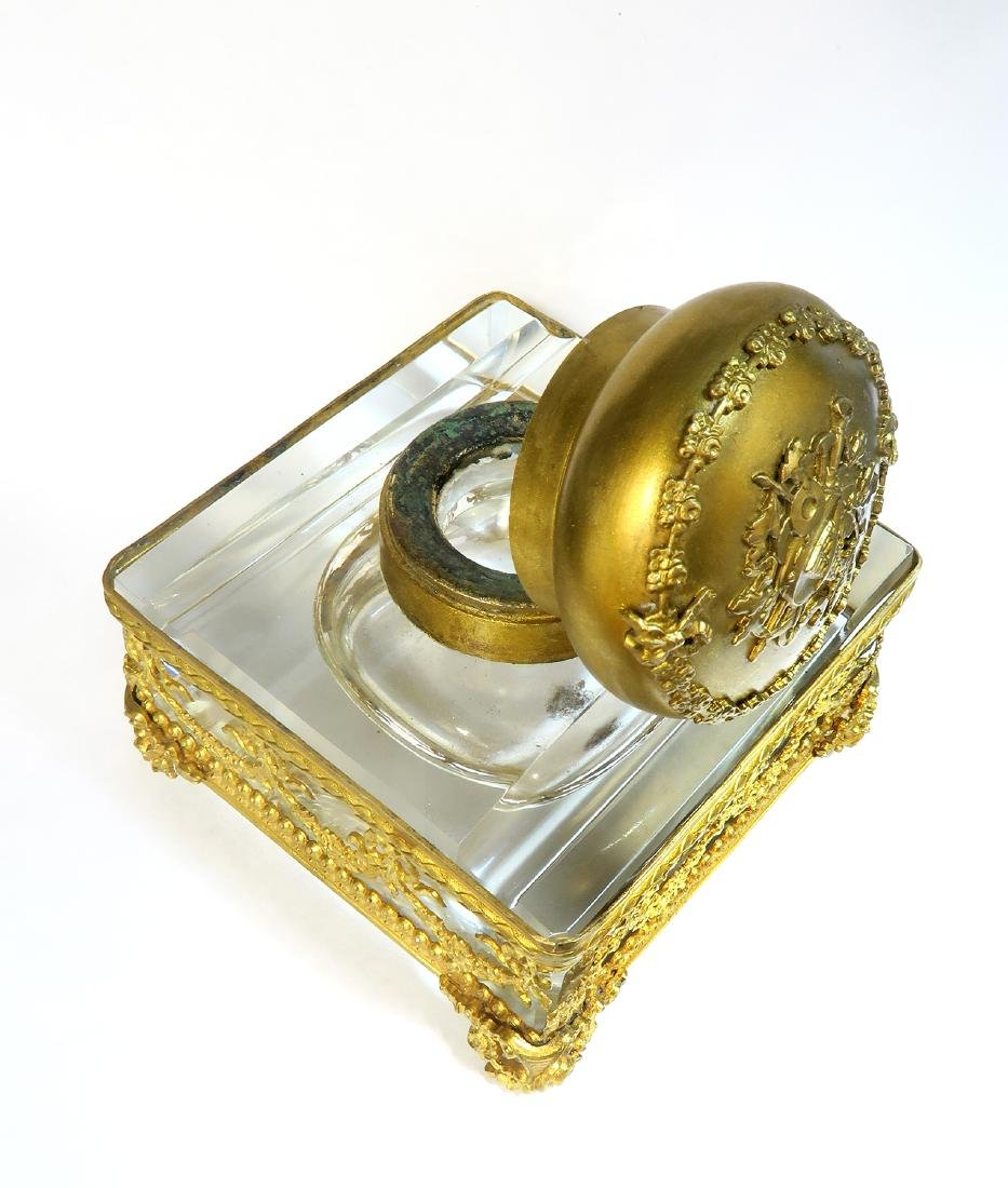 French Bronze & Baccarat Crystal Inkwell, 19th C. - 4
