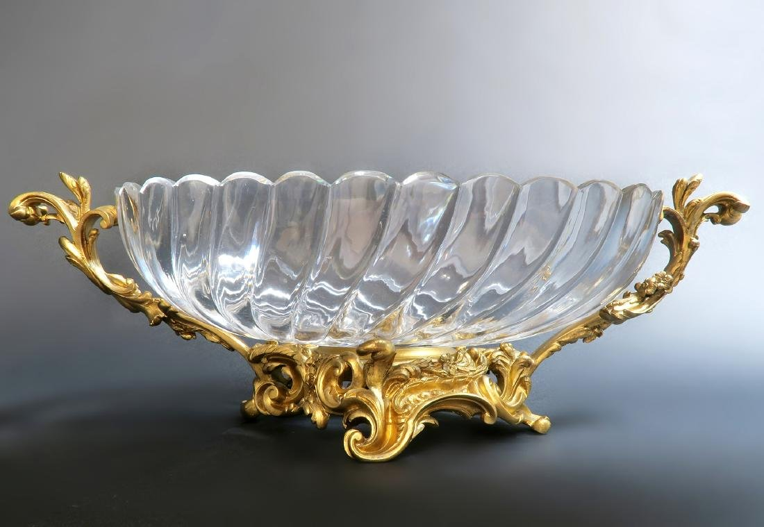 19th C. French Baccarat Crystal Bronze Centerpiece