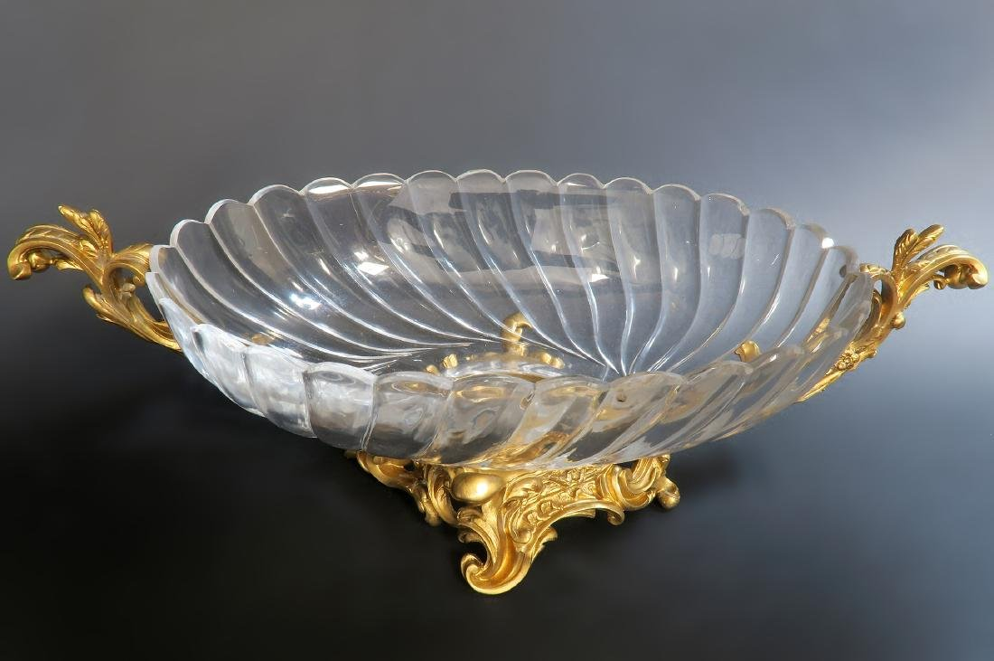 19th C. French Baccarat Crystal Bronze Centerpiece - 2