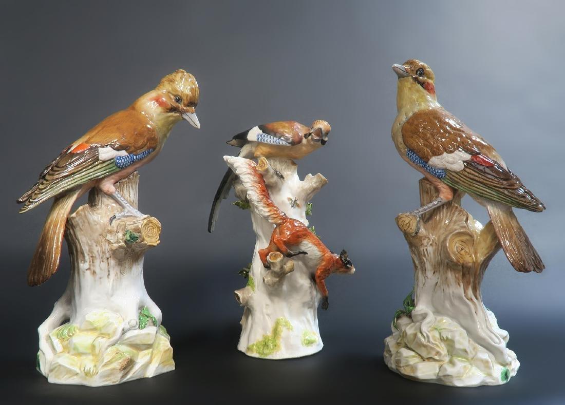 Fine Hand Painted Meissen Style Birds, 19th C.