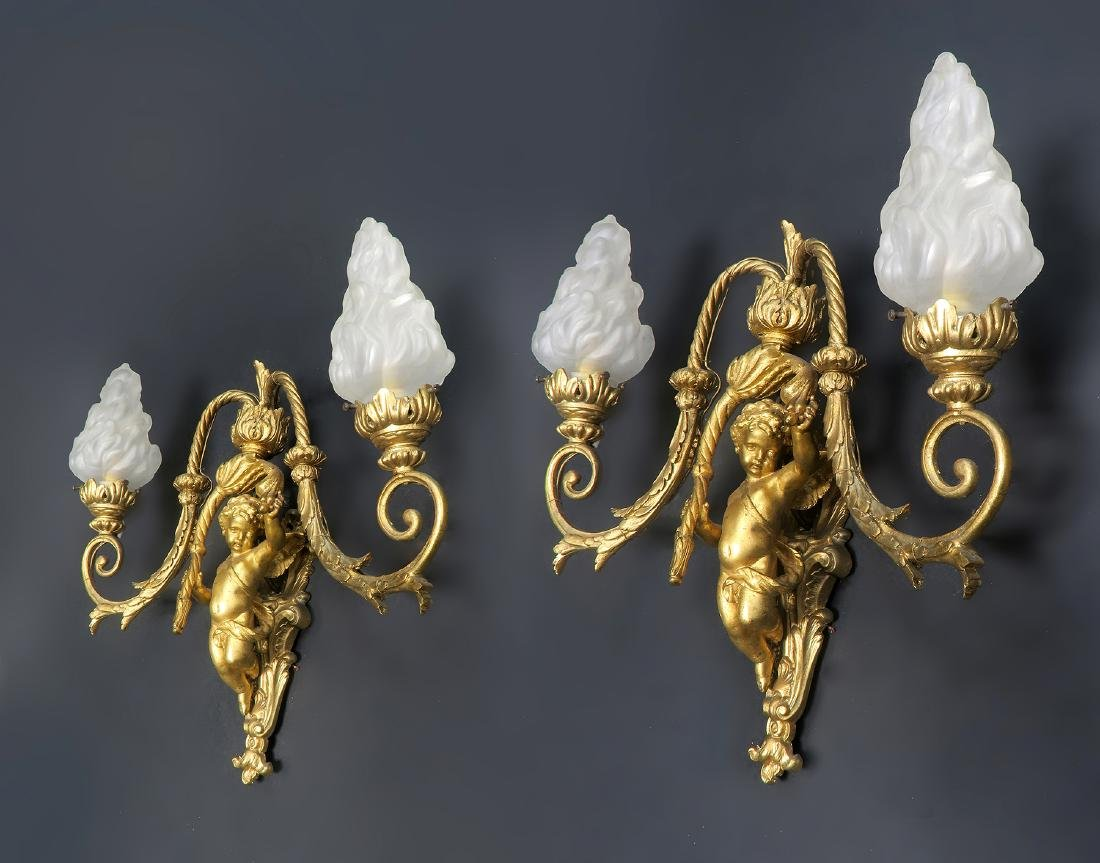 Pair of 19th C. French Figural Bronze Sconces