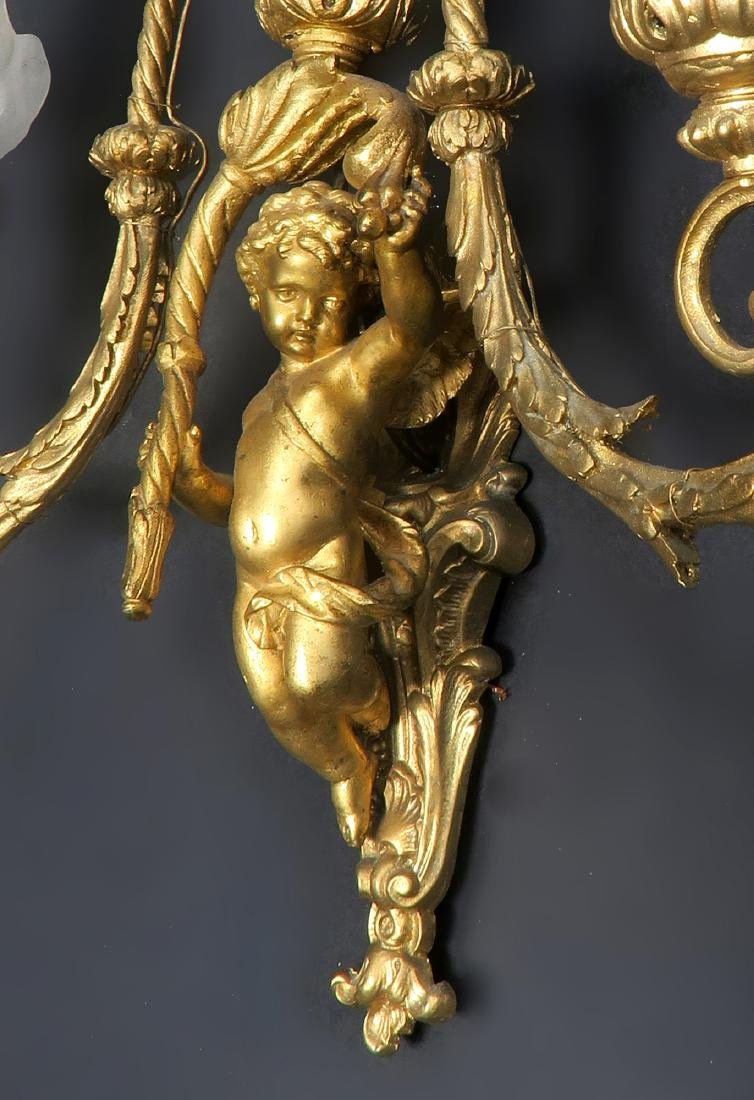 Pair of 19th C. French Figural Bronze Sconces - 2