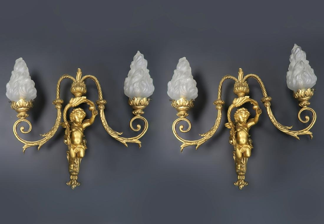 Pair of 19th C. French Figural Bronze Sconces - 3
