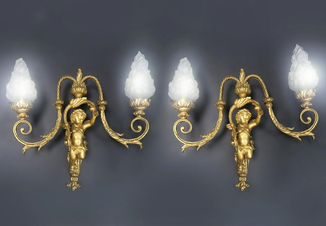 Pair of 19th C. French Figural Bronze Sconces - 4