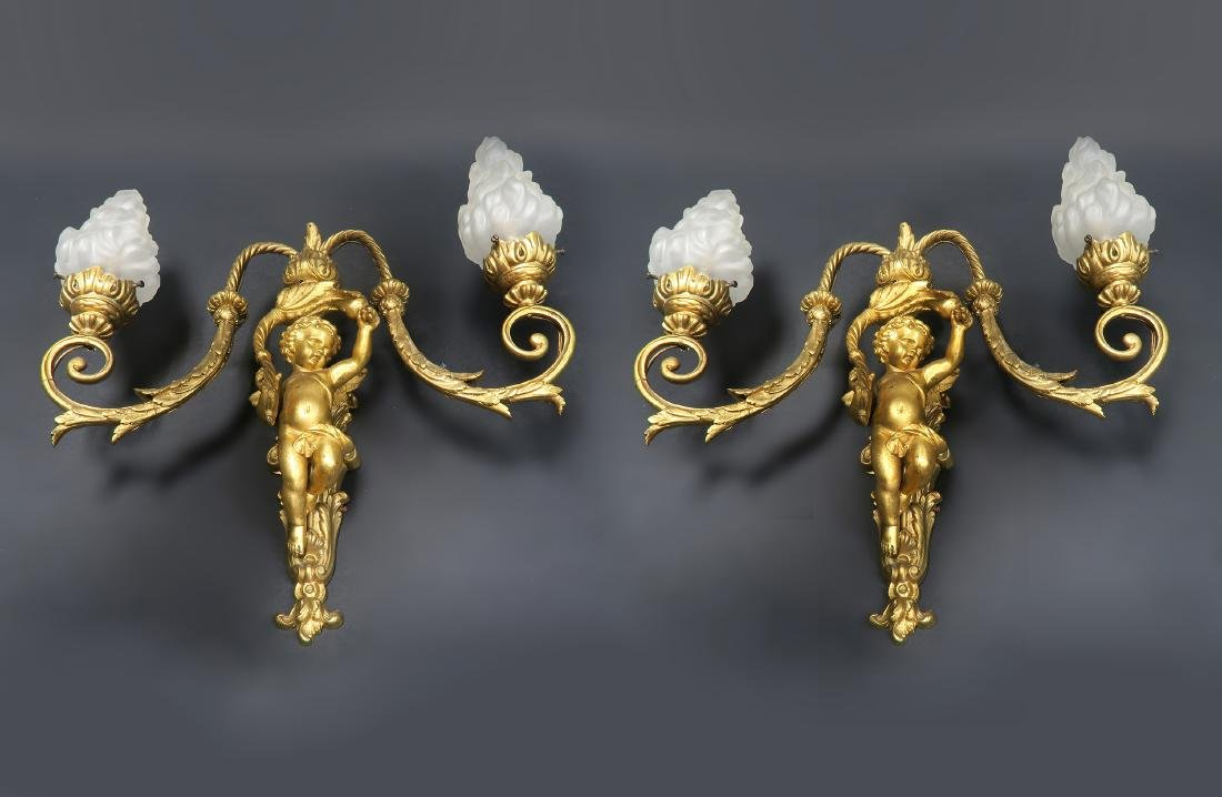 Pair of 19th C. French Figural Bronze Sconces - 5
