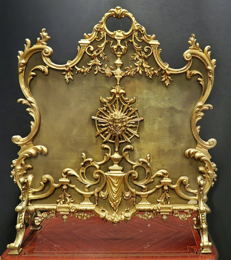 Fabulous 19th C. French Figural bronze Fireplace Screen