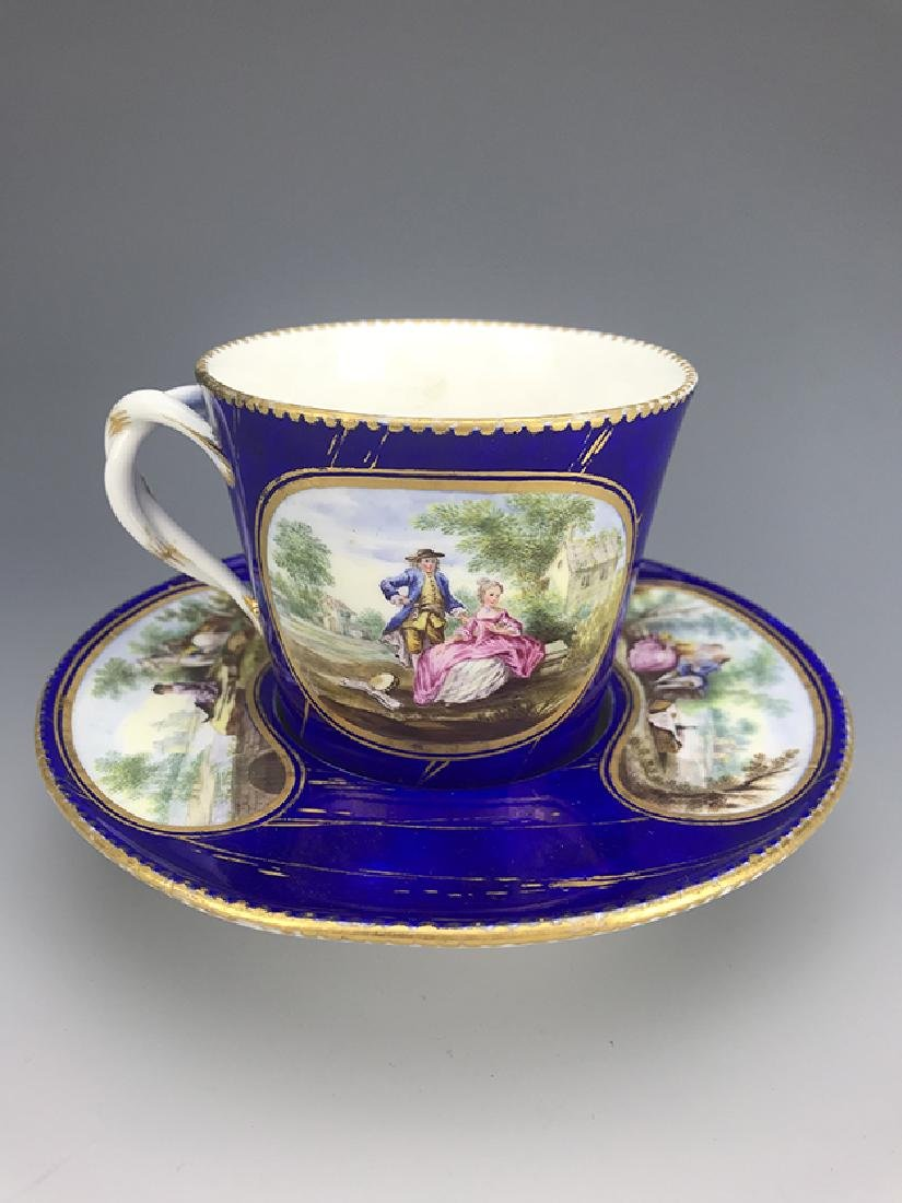 18th C. French Porcelain Sevres Cup & Saucer - 2