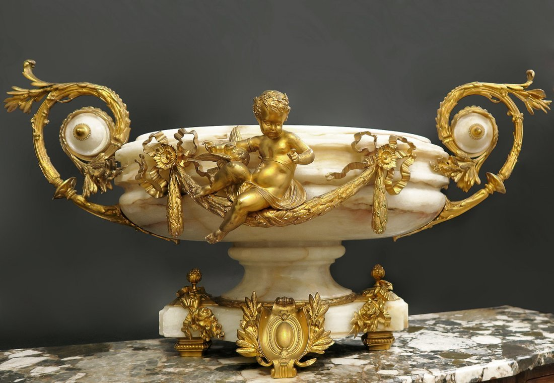 19th C. Monumental Onyx & Figural Bronze Centerpiece