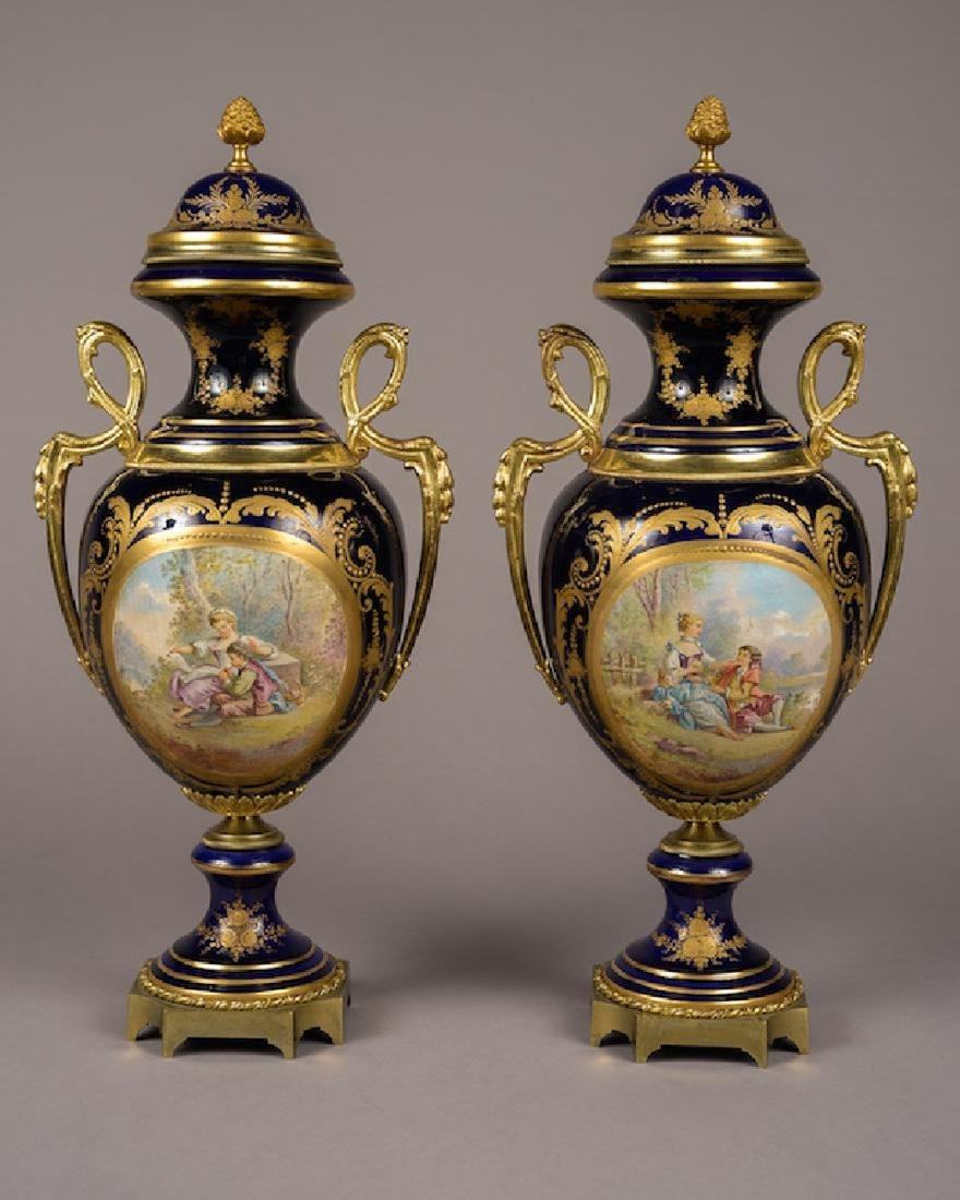 Pair of French Sevres Style Lidded Vases Cobalt Blue