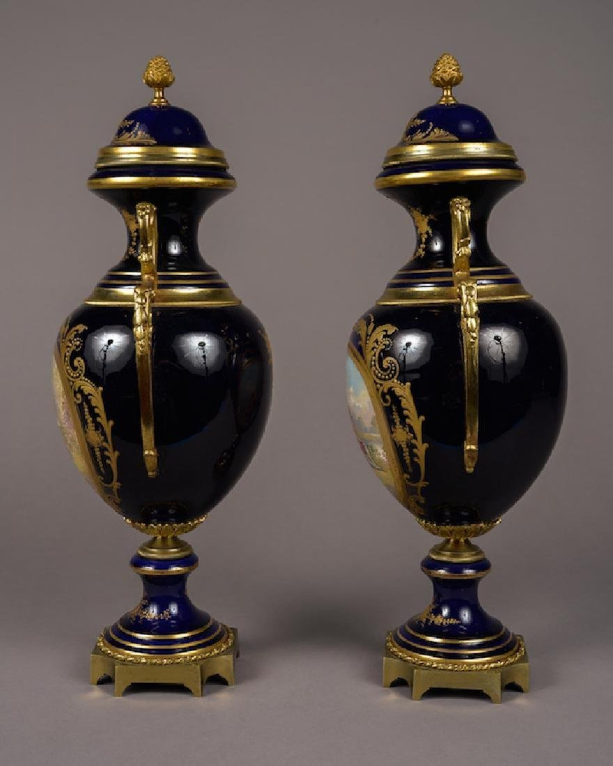 Pair of French Sevres Style Lidded Vases Cobalt Blue - 5