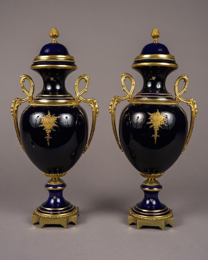 Pair of French Sevres Style Lidded Vases Cobalt Blue - 6