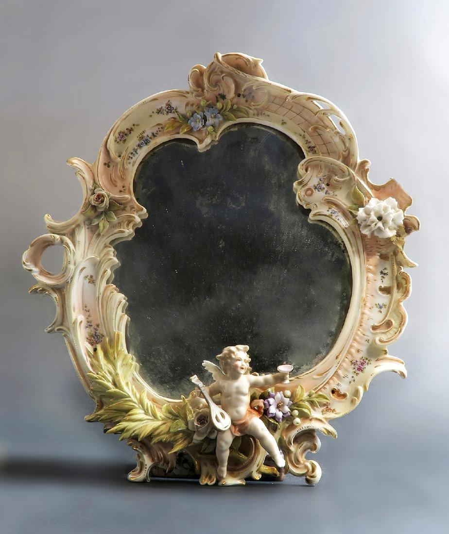 A Meissen Style Figural Mirror, 19th C. - 2