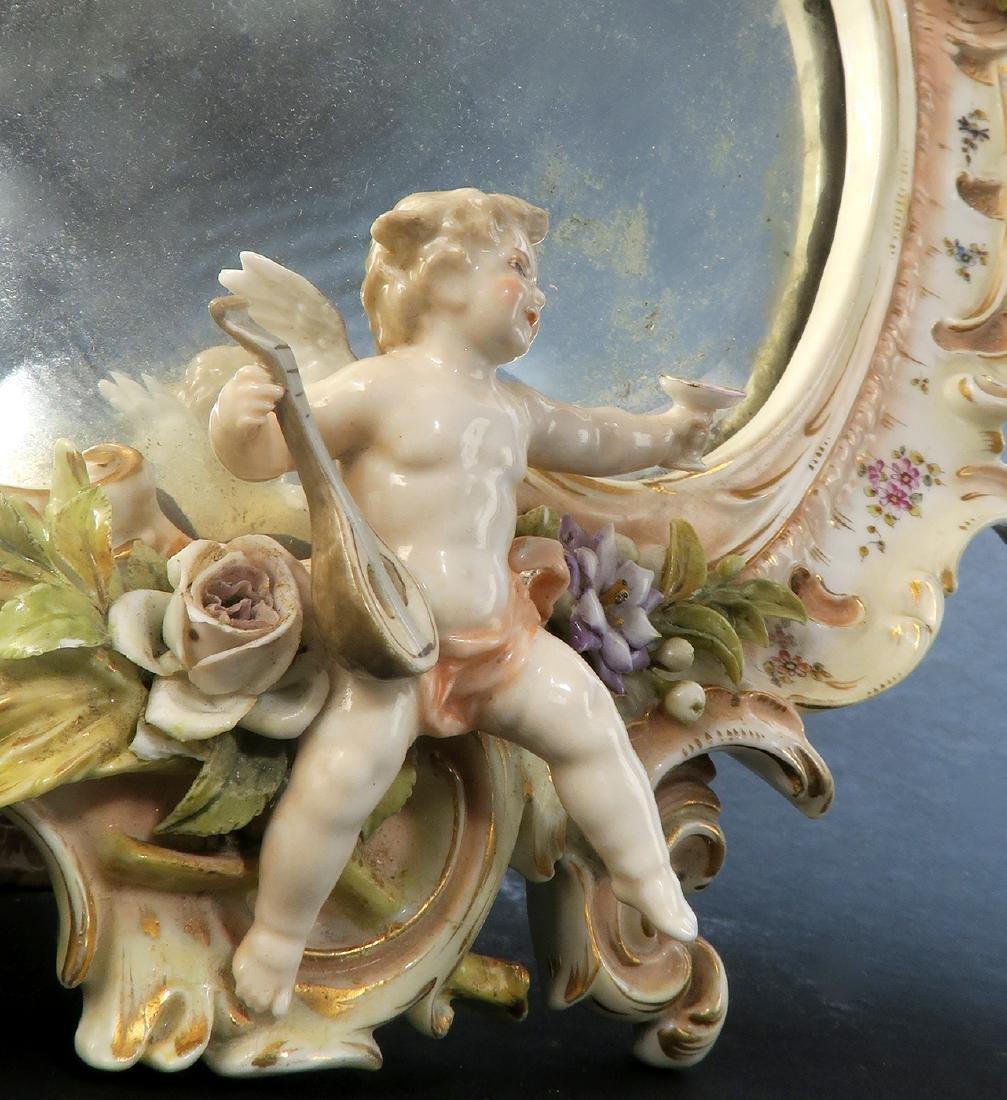 A Meissen Style Figural Mirror, 19th C. - 3