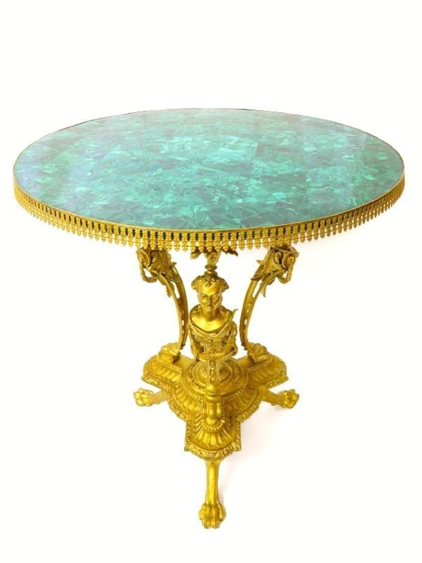 19th C. French Figural Bronze & Malachite Center Table