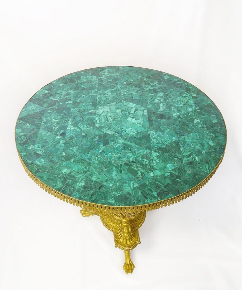 19th C. French Figural Bronze & Malachite Center Table - 3