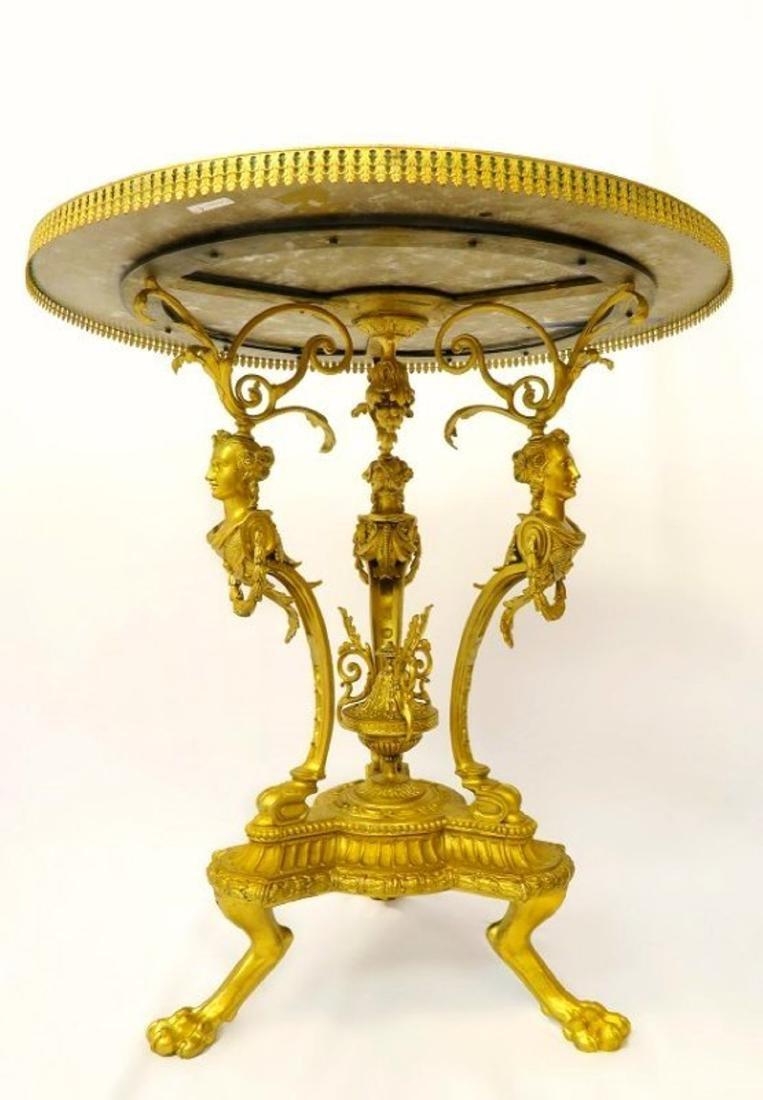 19th C. French Figural Bronze & Malachite Center Table - 4