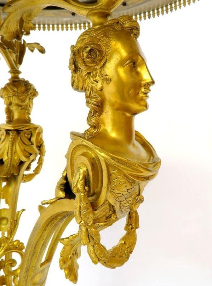 19th C. French Figural Bronze & Malachite Center Table - 5