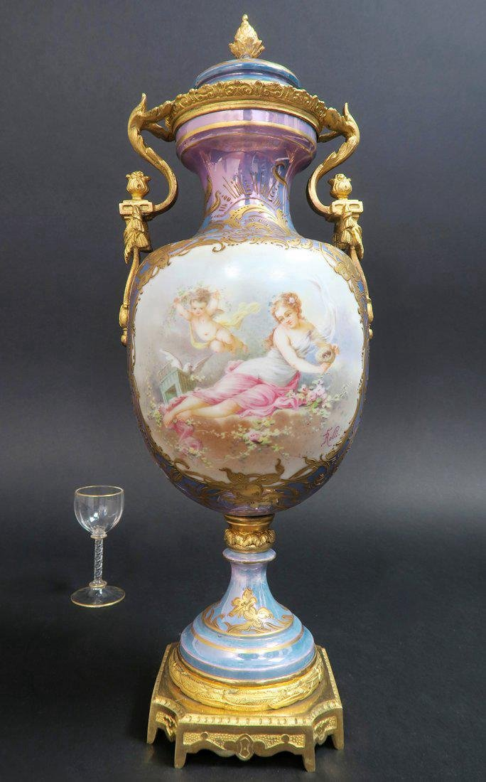 French Bronze Mounted Sevres Porcelain Vase