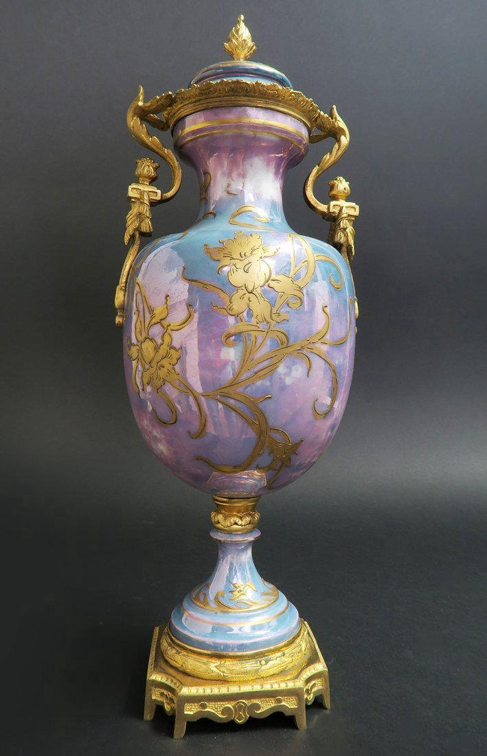 French Bronze Mounted Sevres Porcelain Vase - 4