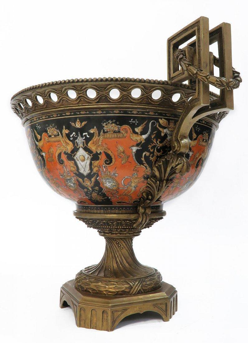 Large Chinoiserie Porcelain & Bronze Centerpiece - 3