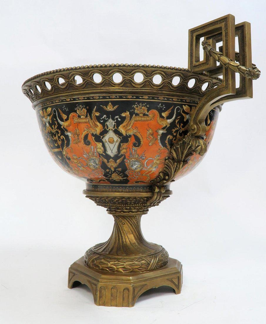 Large Chinoiserie Porcelain & Bronze Centerpiece - 7