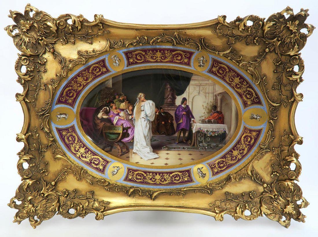 Large Framed Hand Painted Royal Vienna Porcelain Plate