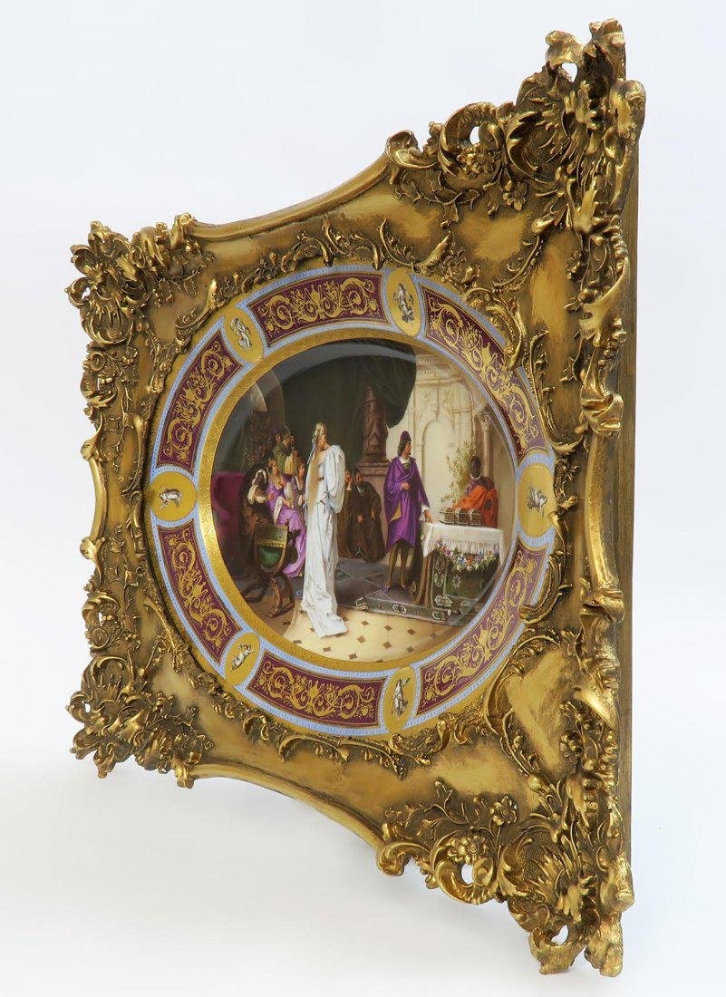 Large Framed Hand Painted Royal Vienna Porcelain Plate - 3