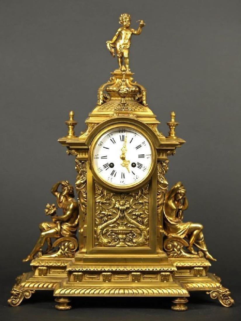 French Gilt bronze louis clock Louis XV Style Clock