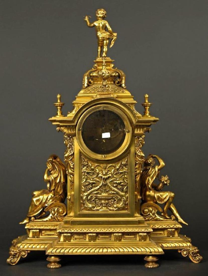 French Gilt bronze louis clock Louis XV Style Clock - 8