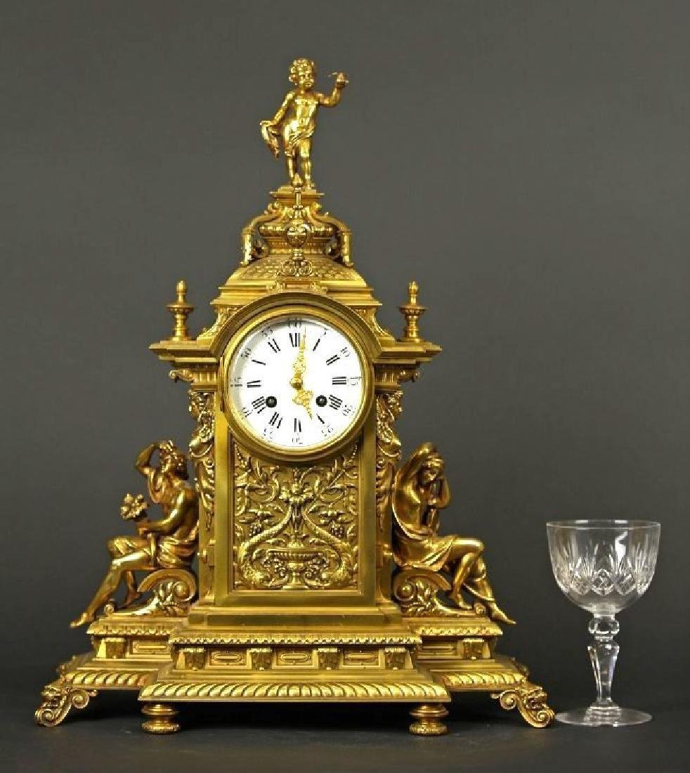 French Gilt bronze louis clock Louis XV Style Clock - 9