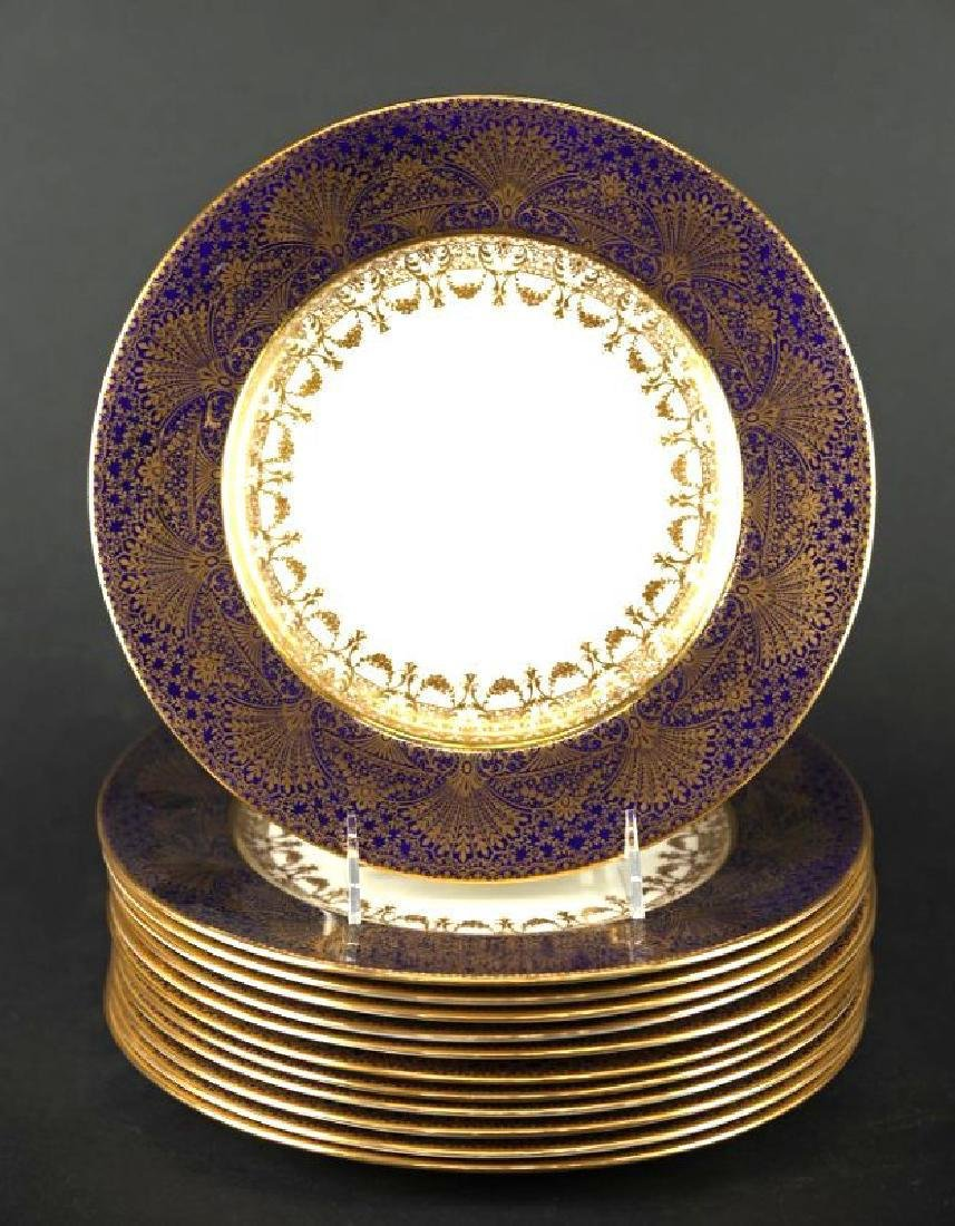 12 Lenox Plates with Gilt and Cobalt Blue