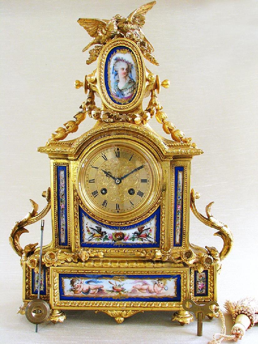 Antique Gilt Ormolu and Sevres Clock